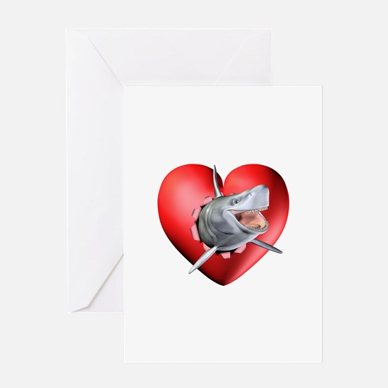Shark Heart Burst Greeting Card