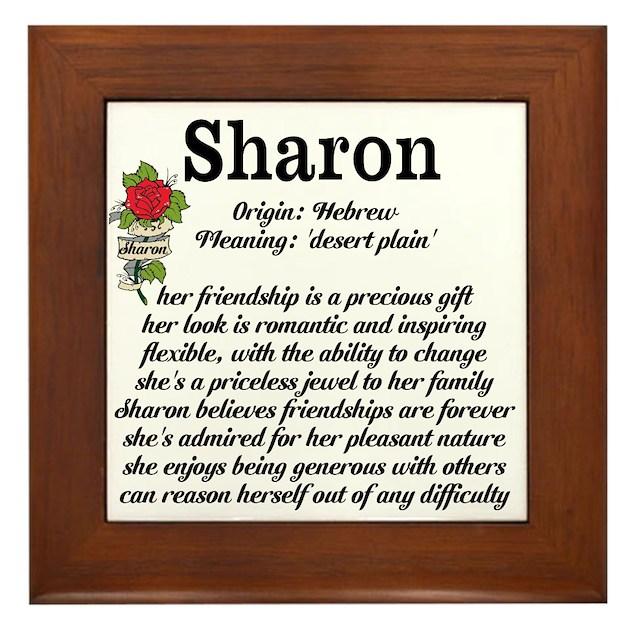 Sharon Name Meaning Design Framed Tile By Inspirationstation