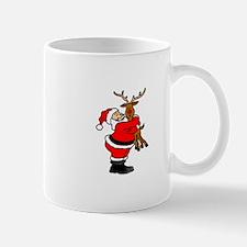 Santa hugging reindeer Mugs