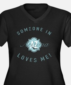 Someone In A Women's Plus Size V-Neck Dark T-Shirt