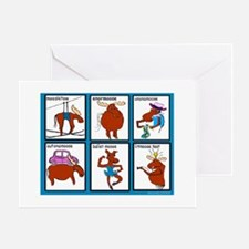 Six Moose Cartoons Greeting Card
