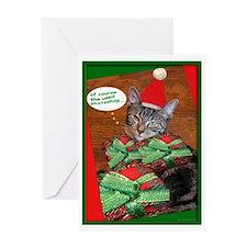 tabby cat christmas Card Greeting Card