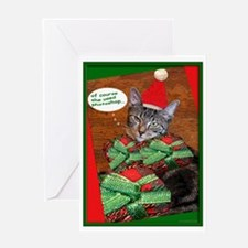 tabby cat christmas Card Greeting Card