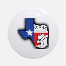 Texas Outline, The Lone Star State Round Ornament