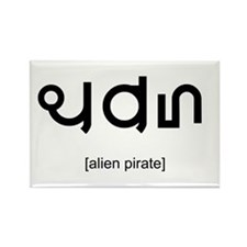 Alien Pirate Rectangle Magnet
