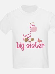 Pink Giraffe Big Sister T-Shirt