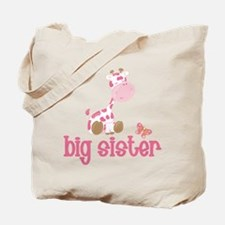 Pink Giraffe Big Sister Tote Bag