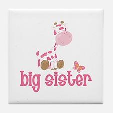 Pink Giraffe Big Sister Tile Coaster