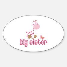 Pink Giraffe Big Sister Decal