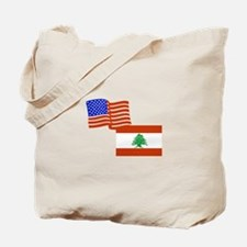 American and Lebanese Flag Tote Bag