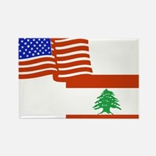 American and Lebanese Flag Rectangle Magnet
