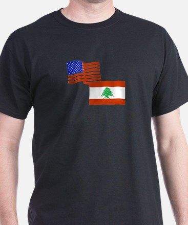 American and Lebanese Flag T-Shirt