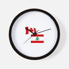 Canadian and Lebanese Flag Wall Clock