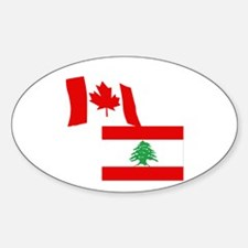 Canadian and Lebanese Flag Oval Decal
