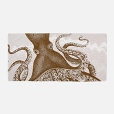 Vintage Brown Octopus on Marbling Texture Beach To