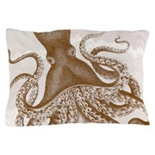 Vintage Brown Octopus on Marbling Texture Pillow C