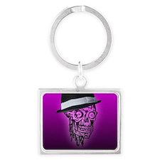 Elegant Skull with hat,hot pink Landscape Keychain