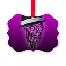 Elegant Skull with hat,hot pink Ornament
