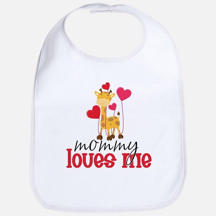 Mommy Loves Me Giraffe Hearts Bib
