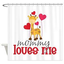Mommy Loves Me Giraffe Hearts Shower Curtain