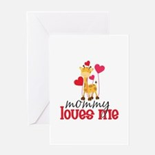 Mommy Loves Me Giraffe Hearts Greeting Card