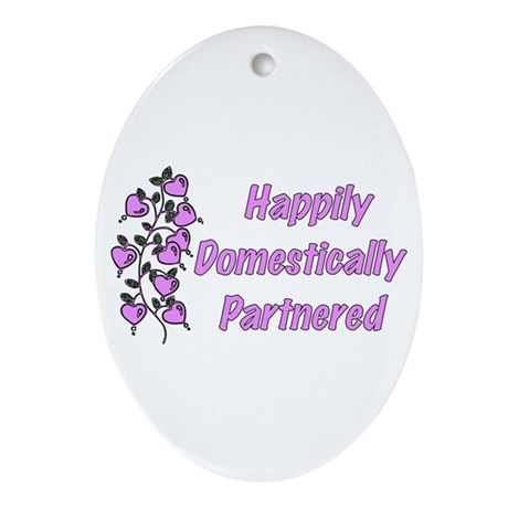 Happily Domestically Partnered Oval Ornament