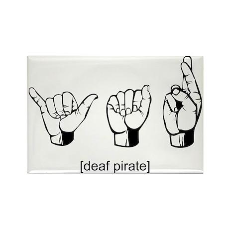 Deaf Pirate Rectangle Magnet (10 pack)