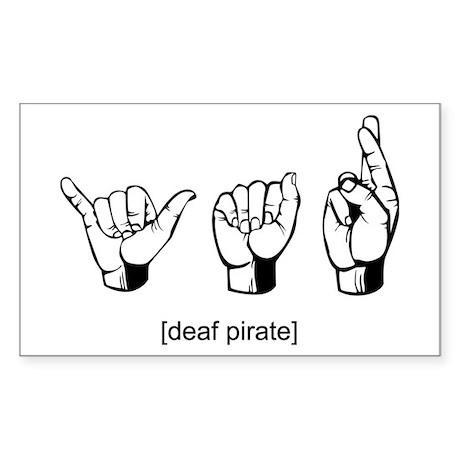 Deaf Pirate Rectangle Sticker