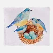 bluebirds Throw Blanket