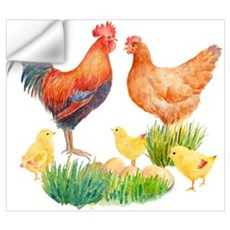 Watercolor Chicken Family Wall Decal
