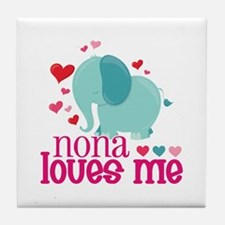 Nona Loves Me - Elephant Tile Coaster