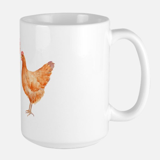 Watercolor Rooster and Hen Large Mug