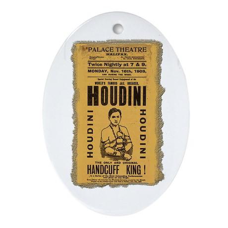 Vintage Houdini Poster Oval Ornament