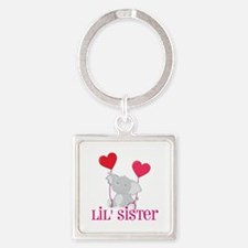 Little Sister Elephant Square Keychain