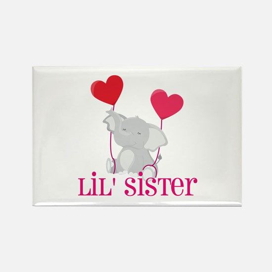 Little Sister Elephant Rectangle Magnet