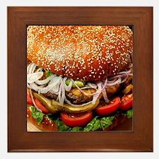 humor funny hamburger Framed Tile