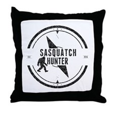Sasquatch Hunter (Distressed) Throw Pillow