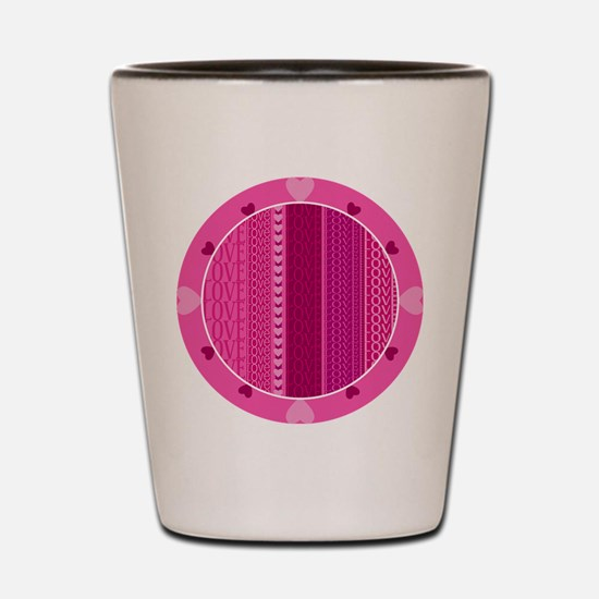 Love Pink Hearts Shot Glass