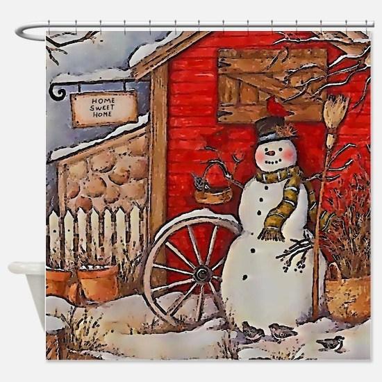 Snowman Scene Shower Curtain