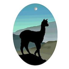 Blue Hills Alpaca Oval Ornament