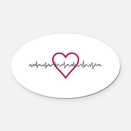 Heartbeat Oval Car Magnet