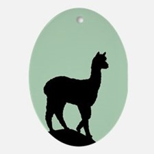Alpaca Black on Mint Oval Ornament
