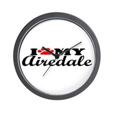 Airedale - I Love My Wall Clock