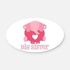 Cute Pink Big Sister Elephant Oval Car Magnet