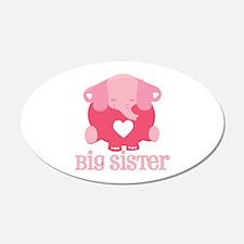Cute Pink Big Sister Elephan Wall Decal