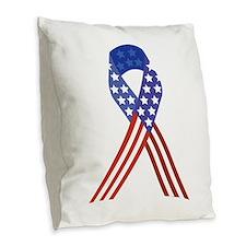Patriotic Ribbon Burlap Throw Pillow