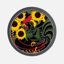 ROOSTER IN THE SUNFLOWERS Wall Clock