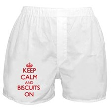 Keep Calm and Biscuits ON Boxer Shorts