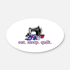 Quilt (Machine) Oval Car Magnet