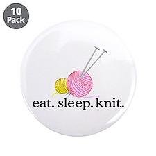 "Knitting Needles & Yarn 3.5"" Button (10 pack)"